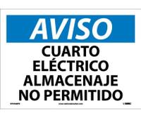 Aviso Cuarto Electrico Almacenaje No Permitido 10X14 Ps Vinyl