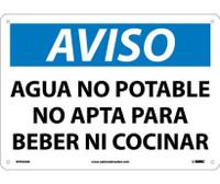 Aviso Agua No Potable No Apta Para Beber Ni Cocinar 10X14 .040 Alum