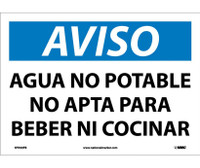 Aviso Agua No Potable No Apta Para Beber Ni Cocinar 10X14 Ps Vinyl