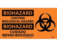 Biohazard Caution Biological Hazard (Bilingual W/Graphic) 10X18 Ps Vinyl