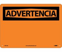 Advertencia Blank 10X14 .040 Alum