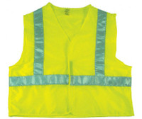 Safety Vest Cloth  Lime W/Silver Stripes Xl