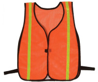 "Safety Vests Fluorescent  Orange Mesh 3/4"" Silver Stripe"