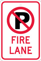 (No Parking Graphic)Fire Lane 18X12,.080 Egp Ref Alum Sign