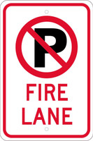 (No Parking Graphic)Fire Lane 18X12  .080 Hip Ref Alum Sign