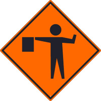 (Flagger Graphic)Sign 30X30 .080 Hip Ref Alum