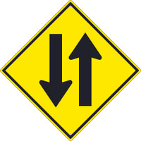 (Two Way Traffic Arrow Graphic) Sign 30X30 .080 Hip Ref Alum