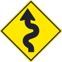 (Arrow Graphic Left)Winding Road  Sign 30X30 .080 Hip Ref Alum
