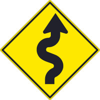 (Arrow Graphic Right)  Winding Road Sign 30X30 .080 Hip Ref Alum