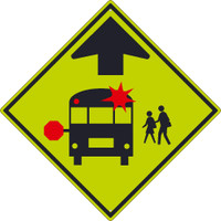 (Graphic School Bus Stop)Sign 30X30,.080 Dg Ref Alum