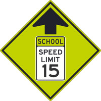 (Graphic School Speed Limit Sign With Arrow) 30X30 .080 Dg Ref Alum