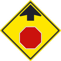 (Graphic Stop Sign Ahead) 24X24,.080 Hip Ref Alum