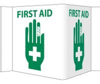 Visi Sign First Aid White 5 3/4X8 3/4 Rigid Vinyl