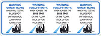 Warning Forklift Traffic Blue Spot Column Wrap Sign 12X34,Texwalk
