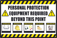 Personal Protection Equipment Required Large Floor And Wall Sign,24X36,Sportwalk