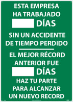 Esta Empresa Ha Trabajado Dias Sin Un Accidente Write On Scoreboard 28X20 .040 Alum