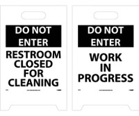 Floor Sign Dbl Side Do Not Enter Restroom Closed For Cleaning Do Not Enter Work In Progress 19X12