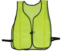 "Safety Vests Fluor Lime Green Mesh 3/4"" Silver Stripes"