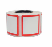 Die-Cut 50Mm X 50Mm (2X2) White Squares With Red Border Premium Grade Vinyl Ghs Pictograms 500/Roll