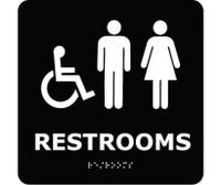 Ada Braille Restrooms (W/Handicap Symbol) Blk 8X8