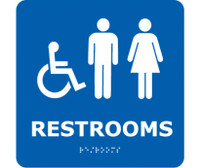 Ada Braille Restrooms (W/Handicap Symbol) Blue 8X8