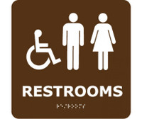 Ada Braille Restrooms (W/Handicap Symbol) Brn 8X8
