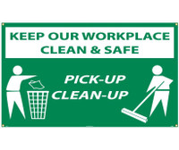 Banner Keep Our Workplace Clean & Safe Pick-Up Clean-Up 3Ftx5Ft Polyethylene,