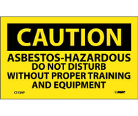 Caution Asbestos-Hazardous .. 3X5 Ps Vinyl 5/Pk