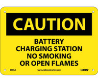 Caution Battery Charging Station No Smoking Or Open Flames 7X10 .040 Alum