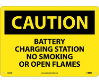 Caution Battery Charging Station No Smoking. . . 10X14 Rigid Plastic