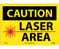 Caution Laser Area Graphic 10X14 Rigid Plastic