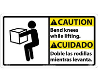 Caution Bend Knees While Lifting (Bilingual W/Graphic) 10X18 Rigid Plastic