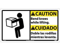 Caution Bend Knees While Lifting (Bilingual W/Graphic) 10X18 Rigid Plastic