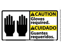 Caution Caution Gloves Required (Bilingual W/Graphic) 10X18 Ps Vinyl