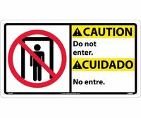 Caution Do Not Enter (Bilingual W/Graphic) 10X18 Rigid Plastic
