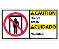 Caution Do Not Enter (Bilingual W/Graphic) 10X18 Rigid Plastic