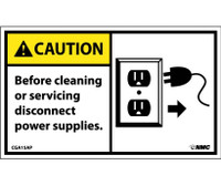 Caution Before Cleaning Or Servicing Disconnect Power Supply (Graphic) 3X5 Ps Vinyl 5/Pk