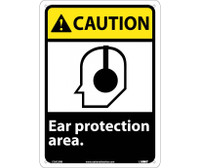 Caution Ear Protection Area 14X10 Rigid Plastic
