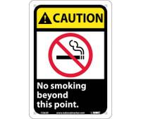 Caution No Smoking Beyond This Point (W/Graphic) 10X7 Rigid Plastic
