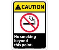 Caution No Smoking Beyond This Point (W/Graphic) 14X10 Rigid Plastic