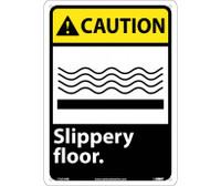Caution Slippery Floor 14X10 Rigid Plastic
