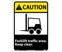Caution Forklift Traffic Area Keep Clear (W/Graphic) 14X10 Rigid Plastic