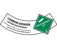 Cylinder Labels Carbon Dioxide 2X5 1/4 Ps Vinyl 25/Pk