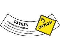 Cylinder Labels Oxygen 2X5 1/4 Ps Vinyl 25/Pk