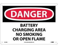 Danger Battery Charging Area No Smoking Or Open. . . 10X14 Rigid Plastic