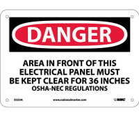 Danger Area In Front Of This Electrical Panel Must Be Kept Clear For 36 Inches Osha-Nec Regulations 7X10 .040 Alum