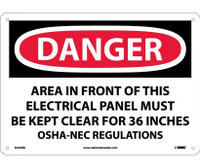 Danger Area In Front Of This Electrical Panel 10X14 Rigid Plastic