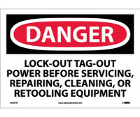 Danger Lockout Tagout Power Before Servicing. . . 10X14 Ps Vinyl