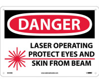 Danger Laser Operating Protect Eyes And Skin From Beam Graphic 10X14 Rigid Plastic