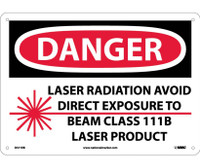 Danger Laser Radiation Avoid Direct Exposure To Beam Class 111B Laser Product Graphic 10X14 Rigid Plastic